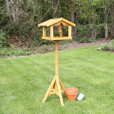 Traditional Wooden Bird Table with built in nut feeder