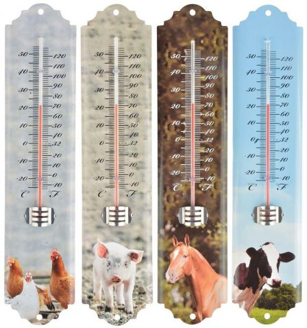 Quirky Garden Thermometer with Farm Animal Design. COW