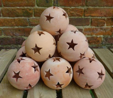 Terracotta Star Ball Garden / Patio Lantern. 20cm diameter