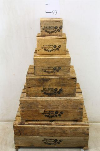 Wooden Storage Crates - Set of 6 with Coffee Logo