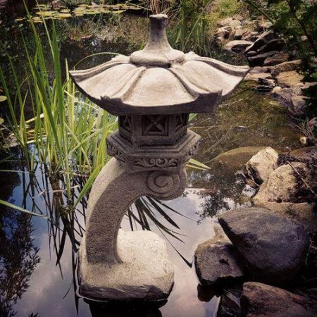Oriental Pagoda Lantern Made From Reconstituted Stone Garden Ornament Kanji Design