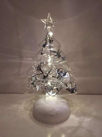 Glass LED Christmas Tree.  Battery Operated