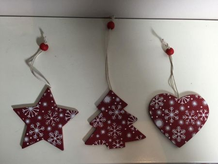 Set of 12 Wooden Nordic Style Red and White Snowflake Design Chirstmas Tree Decorations