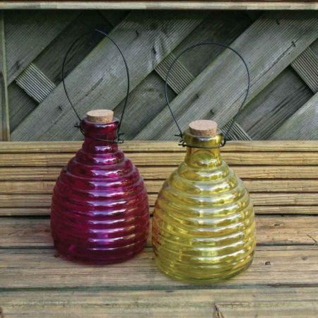 Glass Wasp Trap set of 2. Pink/Yellow 12cm diameter