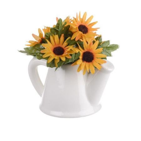 Ceramic Watering Can Jug Complete with Artificial Sunflowers