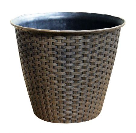 Medium Rattan Effect Plastic Plant Pot Planter.  25cm Diameter