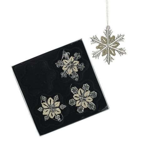 Set of 4 Glass Snowflake Christmas Tree Decorations