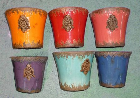 Set of 2 Glazed Red Pots with Emblem.