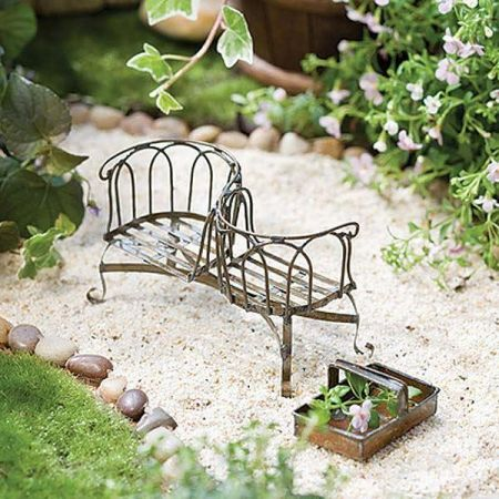 Miniature Gardening Courting Bench / Kissing Bench with Antiqued Finish