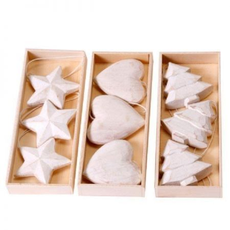 Heart White Wooden Carved & Painted Christmas Tree Decorations / Hangers x 3