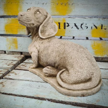 Laying Dachshund Garden Ornamentmade from Reconstituted stone