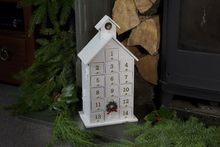 Contemporary Double Sided White Handcrafted Wooden Advent Calendar House with Robin