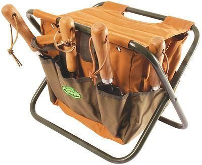 Folding tool stool with canvas tool bag.  Fishing, gardening, odd jobs GT01
