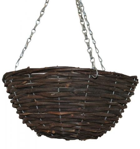 "Black Rattan 12"" hanging basket with plastic liner and metal hangers"