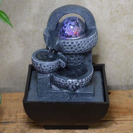 Pot Cascade with LED Mystic Ball Indoor Fountain Water Feature