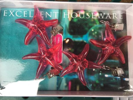 Tablecloth Weights made from coloured plastic.  RED STARFISH