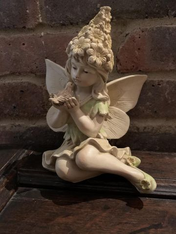Flower Fairy with a Bird Garden Statue 20cm tall approximately
