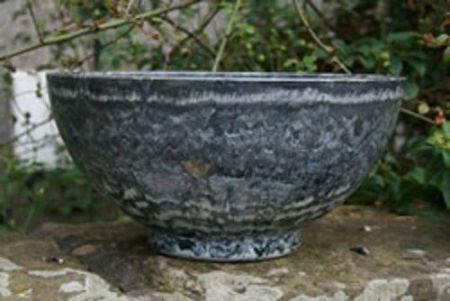 Aegean GREY MARBLE contemporary bowl patio planter plastic pot. 40cm wide.  Frost proof XDL0887