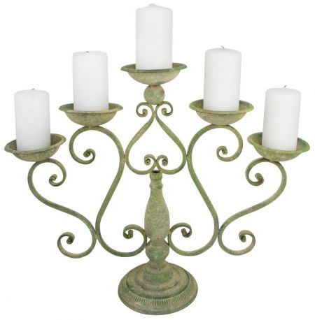 Aged metal candelabra.  French country house shabby chic.