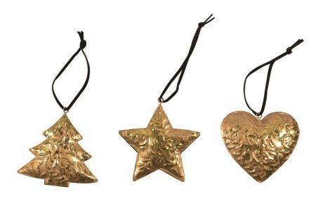 Pack of 3 Vintage Gold Embossed Metal Christmas Tree Decorations.