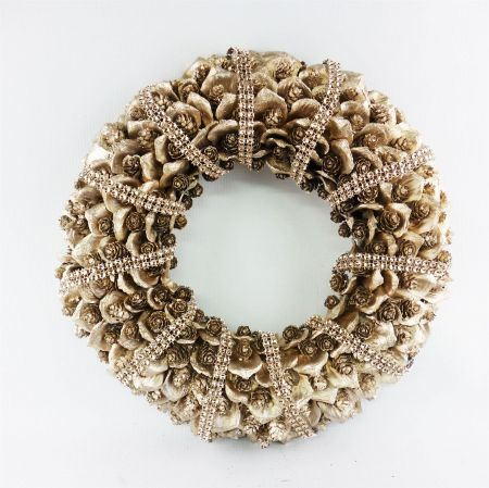 Champagne Gold Wreath with Pinecones and Added Sparkle