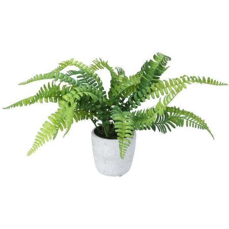 Boston Fern Artificial Plant in a Stone Pot