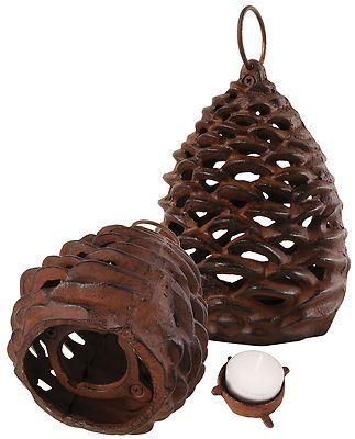 Pine cone tealight holder lantern made of cast iron.  With hanging hook. 2 sizes [Small] xm57