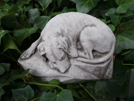 Sleeping Labrador dog. Garden statue made from reconstituted stone DS1