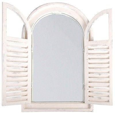 Shuttered Wooden Garden or Indoors Mirror.  Shabby chic / country house style