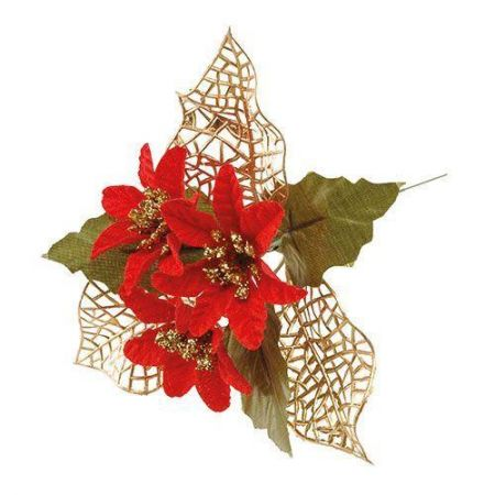 Red & Gold Poinsettia Floristry Pick x 5 for Wreaths & Crackers