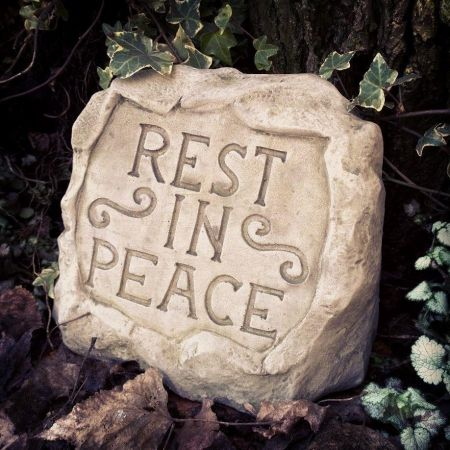 Rest In Peace Memorial Stone Plaque Made from Reconstituted Stone.