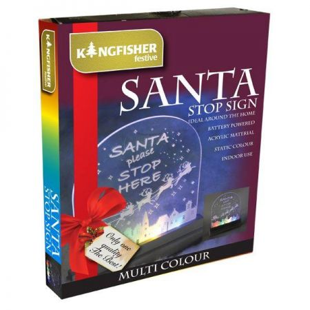 LED Light Up Santa Stop Here Sign. Battery Operated