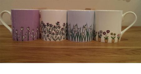 Set of 4 Fine Bone China Mugs in a Crate from Wiggles and Florence. Flowers