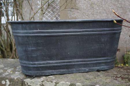 Large Slate Grey Oval Trough. Handfinished. Recycled. 69cm long