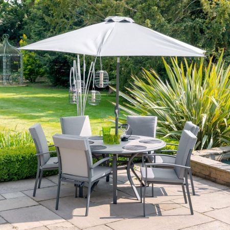 Turin 6 Seater Garden Dining Set with 3m Parasol