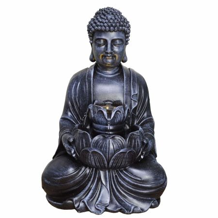 Buddha with Lotus Flower Indoor Fountain Water Feature with LED Light