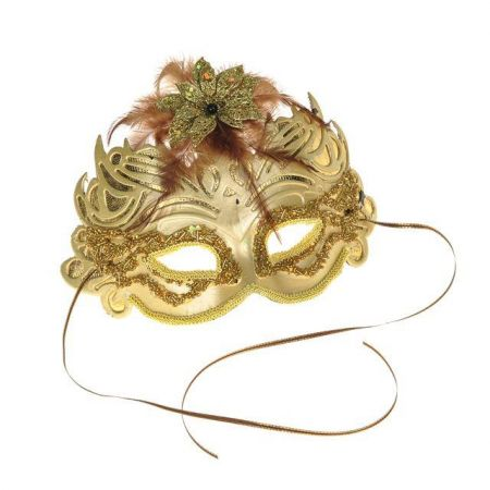 Masquerade Ball Mask with Glitter & Feathers in Champagne Gold.