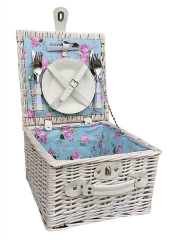 2 Person White Willow Hamper with Plates, Cutlery & Bottle Opener