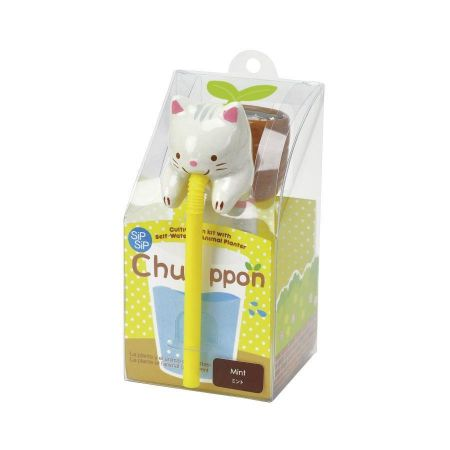 Novelty Animal Seed Kit. Chuppon Drinking Animal Planter. Cat/Mint