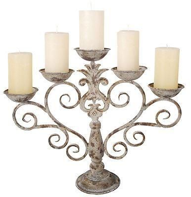 Aged metal candelabra.  French country house shabby chic. 43cm tall AM11
