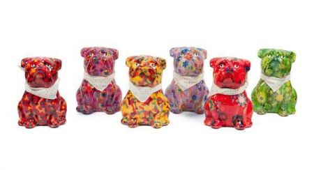 Pomme-Pidou ceramic Sitting Bulldog Money Box.  Brightly coloured, funky and collectable[Deep Red]