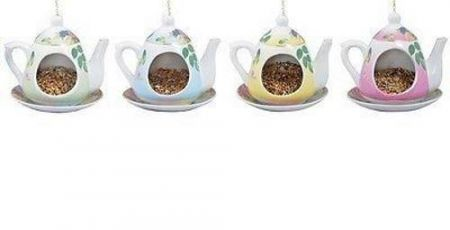 Ceramic Teapot Wild Bird Feeder.  Quirky and fun.[Pink and Yellow]