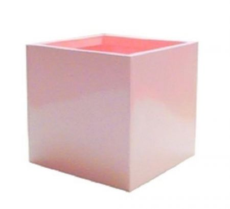 Pink Metal Enamelled Cube Vase / Planter / pot cover. 17cm