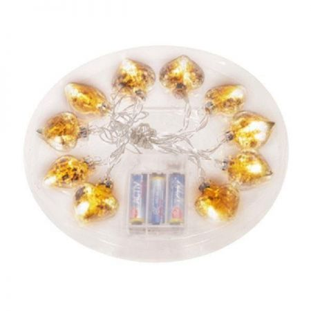 Antique Gold Glass LED Garland with 10 lights. Hearts design.