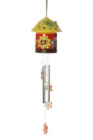 Ceramic House Windchime with Solar Light