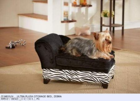 Plush sofa bed chaise for small dogs or cats in Black & Zebra  Print With storage for toys