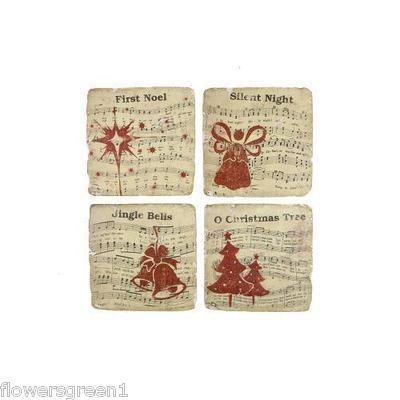 Premium quality coasters  with Christms Carol designs x 4.  Cork backed.