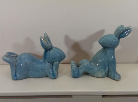 Pair of Ceramic Rabbits / Bunnies with Aged Crackle Glaze. Christening Present - Blue