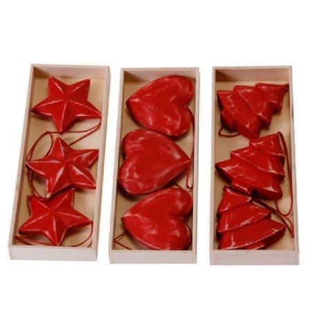 Red Wooden Carved & Painted Christmas Tree Decorations / Hangers x 3