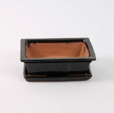 Ceramic Bonsai Dish with Saucer Rectangular BLACK 25cm. Bonsai pot